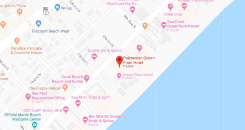 Location of Polynesian Oceanfront Motel